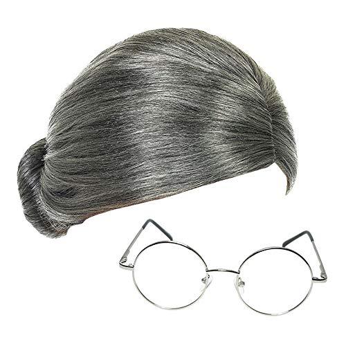 Grau Oma Perücke und Halbmond Brillen Fräulein...