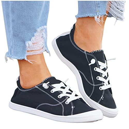 Dasongff Damen Flat Schuhe Loafers Canvas Sneaker...