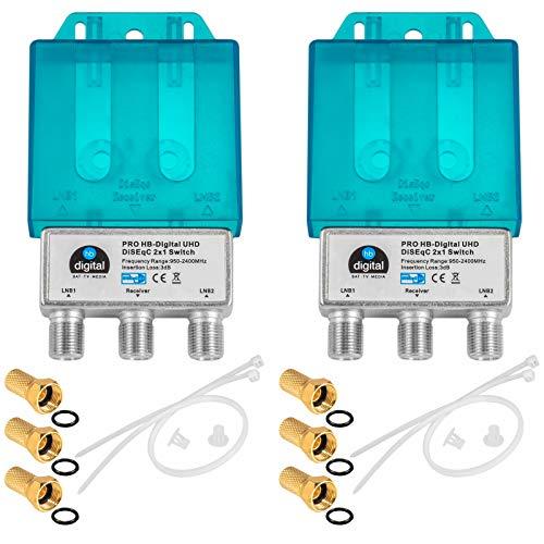 2X PRO DiseqC Schalter Switch 2/1 mit...