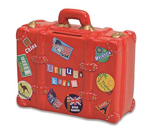 Spardose Urlaubskasse rot in Kofferform  ...