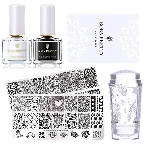 BORN PRETTY Stamping Schablone Nail Stamping...