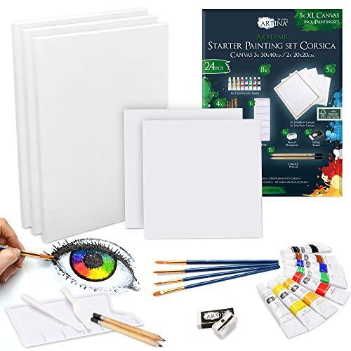 Artina 24 Teile XL Keilrahmen Set & Acrylfarben...