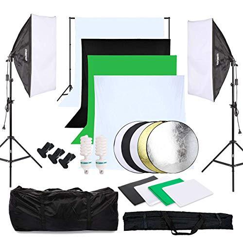 OUBO Fotostudio Set 4X Hintergrundstoff (schwarz,...