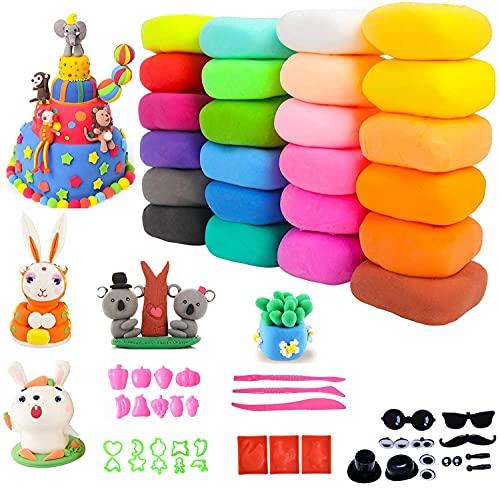 KARLOR Kinderknete, 24 Farben Modellierung Ton,...