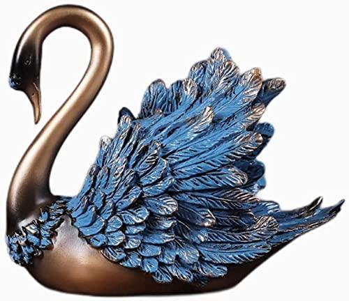 WQQLQX Statue Blue Swan Modell Harz Skulptur Tier...