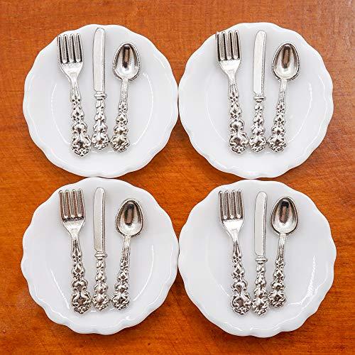 Odoria 1/12 Miniatur 4 Stück Teller und 12 Stück...