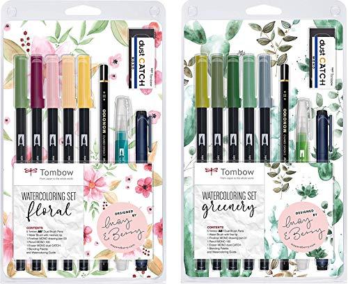 Tombow Watercoloring Set (Floral + Greenery Bundle...
