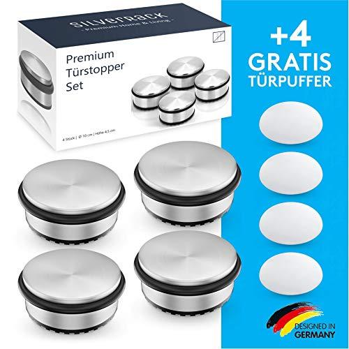 SilverRack® Türstopper Edelstahl [4 Stück] + 4...