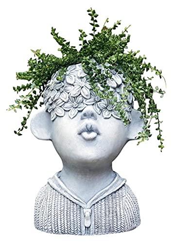 WQQLQX Statue Zement Blume Topf Charakter Skulptur...