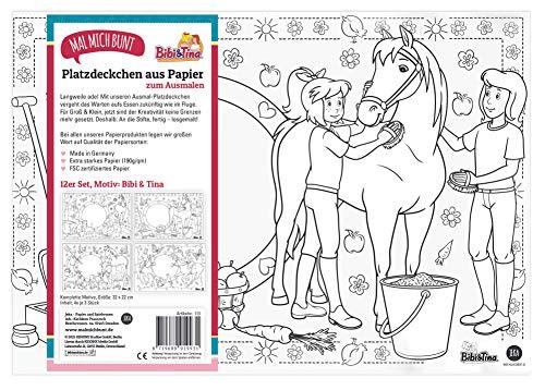 12 Bibi & Tina Papier-Platzsets zum Ausmalen, Bibi...