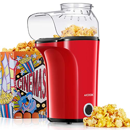 Aicook™ Popcornmaschine 1400W, Heißluft Popcorn...