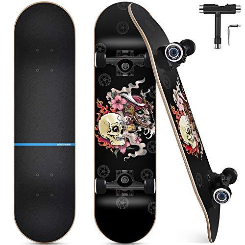 Skateboard, Komplettboard 31 x 8 Zoll Skateboards...