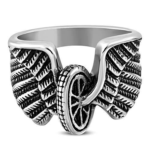 Autiga Cooler Edelstahl Herren-Ring Biker Flügel...