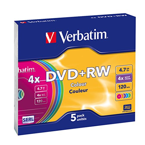 Verbatim DVD+RW 4x Colours 4.7GB I 5er Pack Slim...