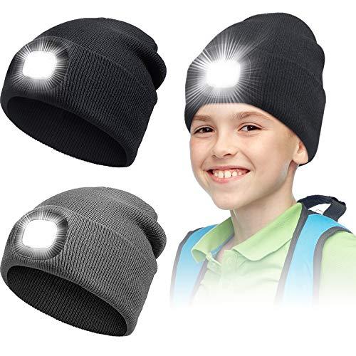 HICARER 2 Stücke LED Mütze Hut für Kinder USB...