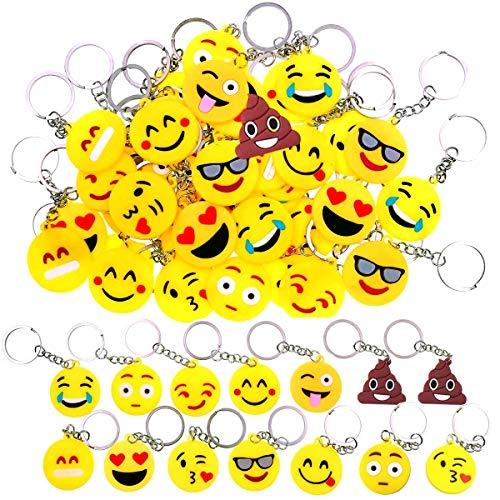 34 Stück Mini Emoji Schlüsselanhänger,Emoji...