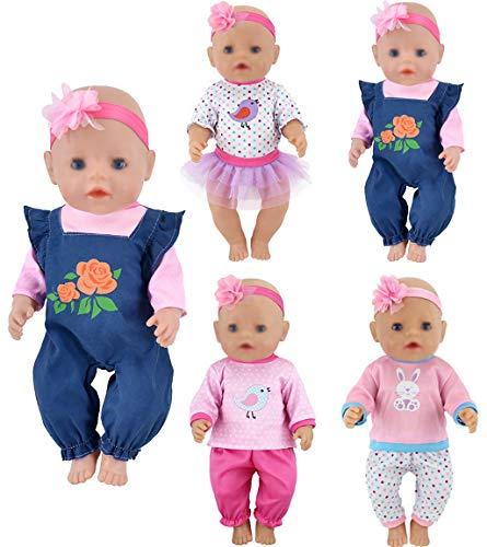 ebuddy Puppenkleidung 4 Sets enthalten Jeans Tops...