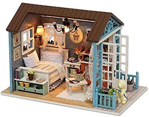YUACY Puppen Haus Kit,DIY Holzpuppenhaus Miniatur...