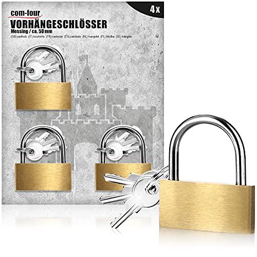 com-four® 4X Vorhängeschloss aus Messing -...