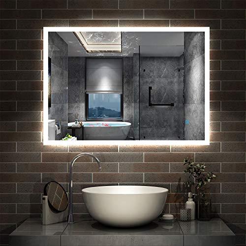 AicaSanitär LED Spiegel Bad 80×60cm Badspiegel...