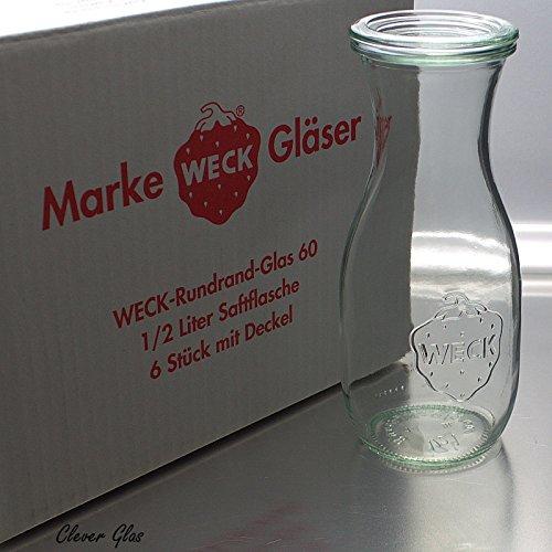6 Weck Einkochgläser 1/2 Liter Saftflasche RR60...