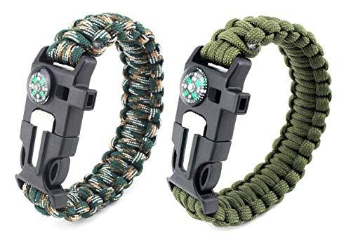 Paracord Survival Armband, Deesospro® 2 Stück...