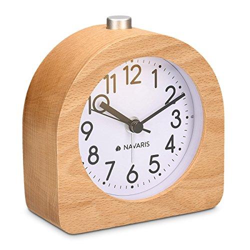 Navaris Analog Holz Wecker mit Snooze - Retro Uhr...