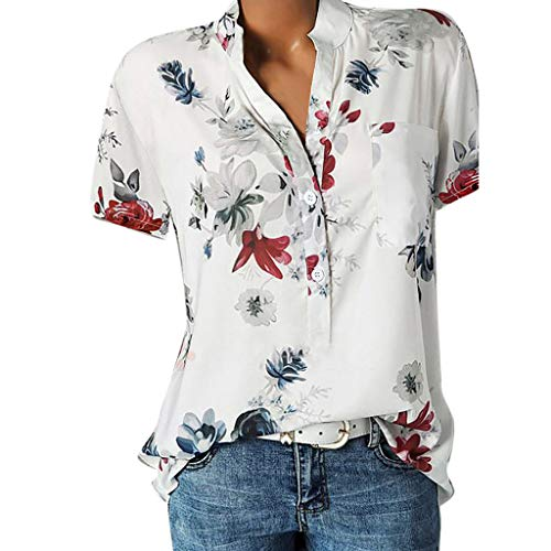 Lulupi Damen Bluse Kurzarm V-Ausschnitt Hemdbluse...