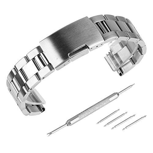 Beauty7 - 22mm Silber Edelstahl Uhrenarmband...