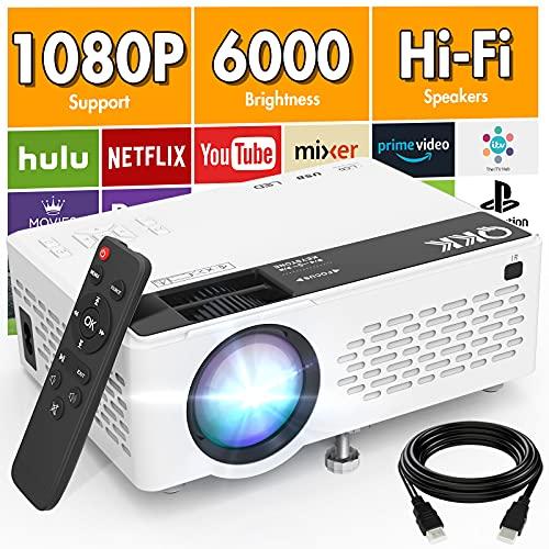 QKK V08 Beamer Unterstützt 1080P Full HD, 6000...