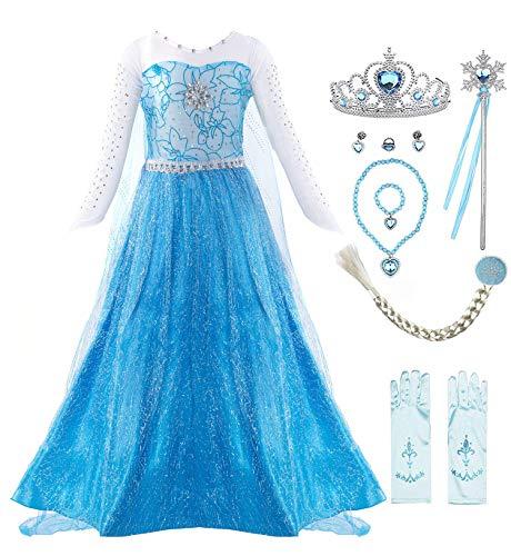 KABETY Mädchen Prinzessin Anna Kleid Schnee...