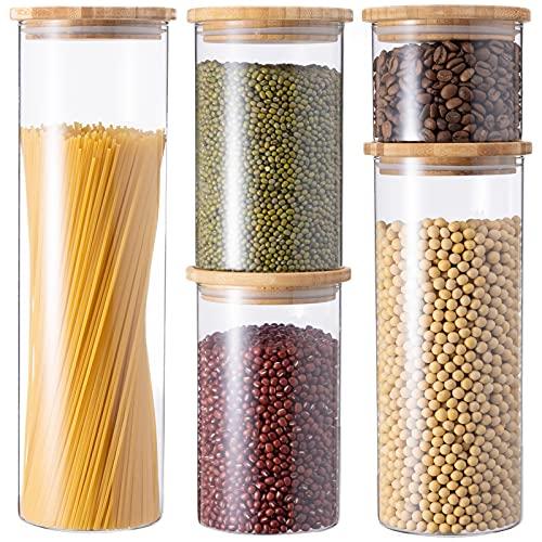 GENICOOK Vorratsdosen aus Glas mit Bambus Deckel...