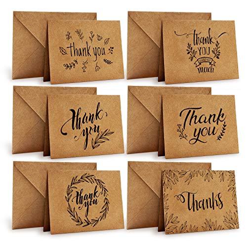 Dankeskarten, 36 Stück, Ohuhu Braune Papier...
