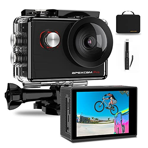 Apexcam Pro Action Cam 4K 20MP Sportkamera WiFi...