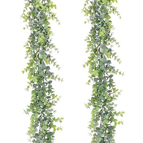 YQing 2 Stück Eukalyptus Pflanze Künstliche Leaf...