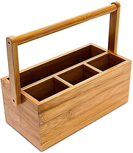 Relaxdays Schreibtischorganizer, aus Bambus, 4...