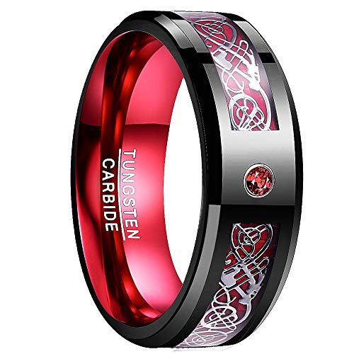 NUNCAD Wolfram Unisex Ring schwarz-rot mit rotem...