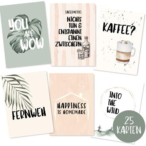 25er Postkarten Set mit schönen Sprüchen -...