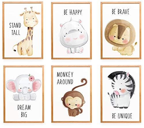 WIETRE® 6er Set Bilder Tiere Kinderzimmer...