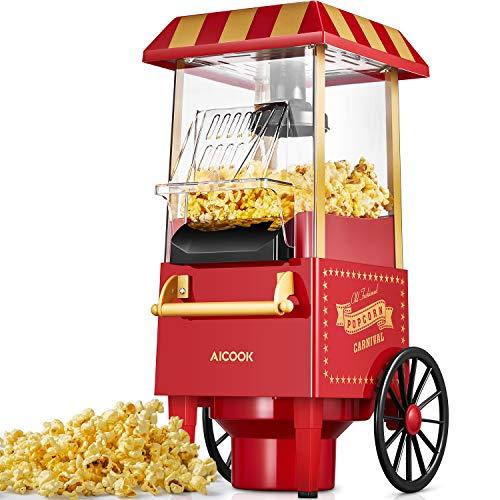 Popcornmaschine Retro, Aicook™ 1200W für...