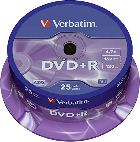 Verbatim DVD+R 16x Matt Silver 4.7GB I 25er Pack...
