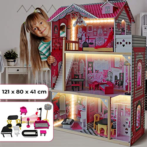 Infantastic® XXXL Puppenhaus aus Holz mit LED - 3...