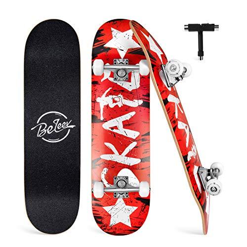 BELEEV Skateboard Erwachsene 31x8 Zoll Komplette...