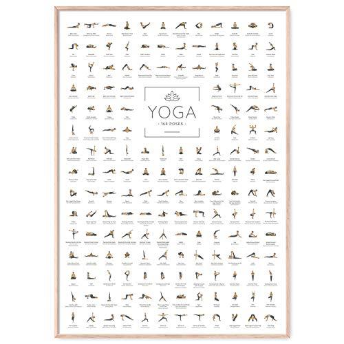 JUNOMI® Yoga Poster DIN A2 mit 168 Posen und...