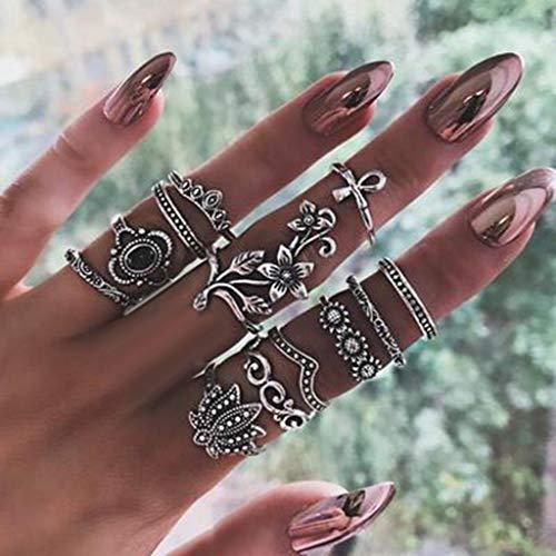 Ring Sets Mode Finger Ringe Knuckle Vintage Silber...