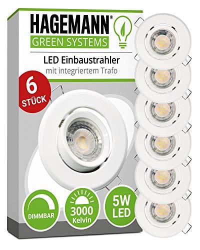 HAGEMANN® 6 x LED Einbaustrahler dimmbar...