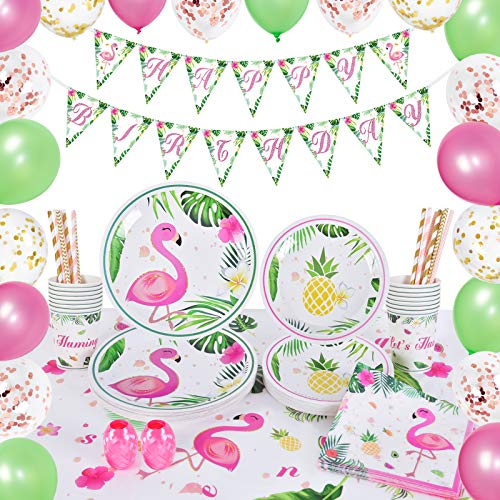 WERNNSAI Flamingo Party Zubehör Set - 105 PCS...