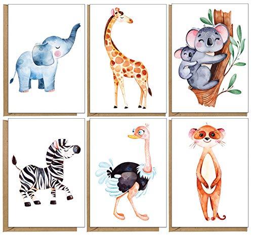 Grußkarten mit Tiermotiven, umweltfreundlich,...