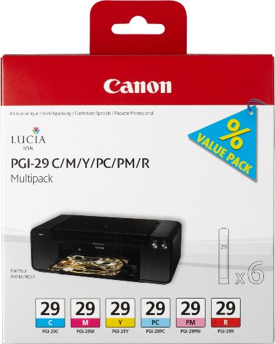 Canon Tintenpatrone PGI-29 C/M/Y/PC/PM/R Multipack...