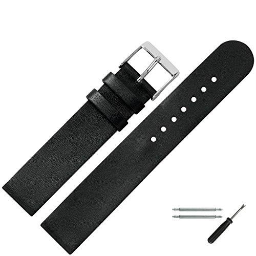 MARBURGER Uhrenarmband 18mm Leder Schwarz -...
